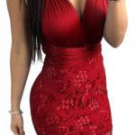 Červené večerní šaty s krajkovou sukní