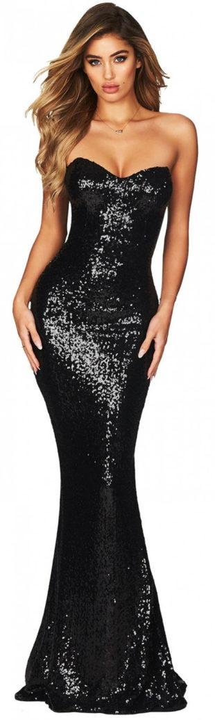 Dlouhé černé plesové šaty bez ramínek