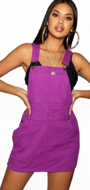 Fialové džínové mini šaty s laclem
