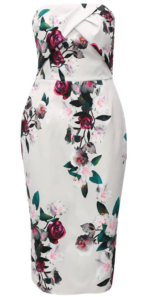 Květované pouzdrové společenské šaty bez ramínek