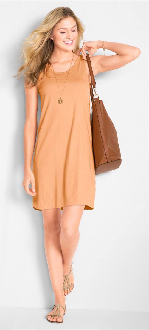 Letní žluto-zlaté dámské šaty