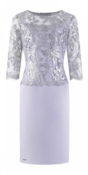 Luxusní plesové šaty s lesklým stříbrným topem
