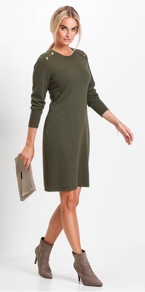 Olivové podzimní šaty
