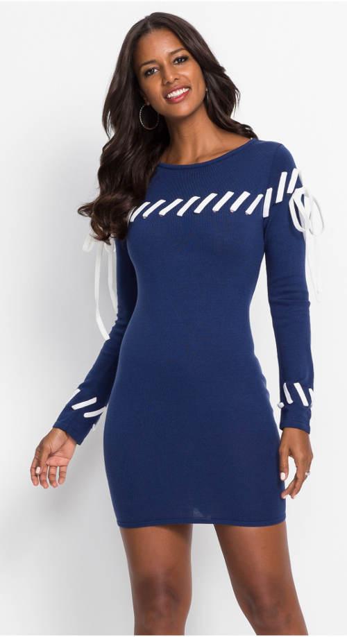 Pletené modré dámské šaty