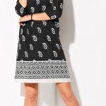 Podzimní krepové šaty s potiskem