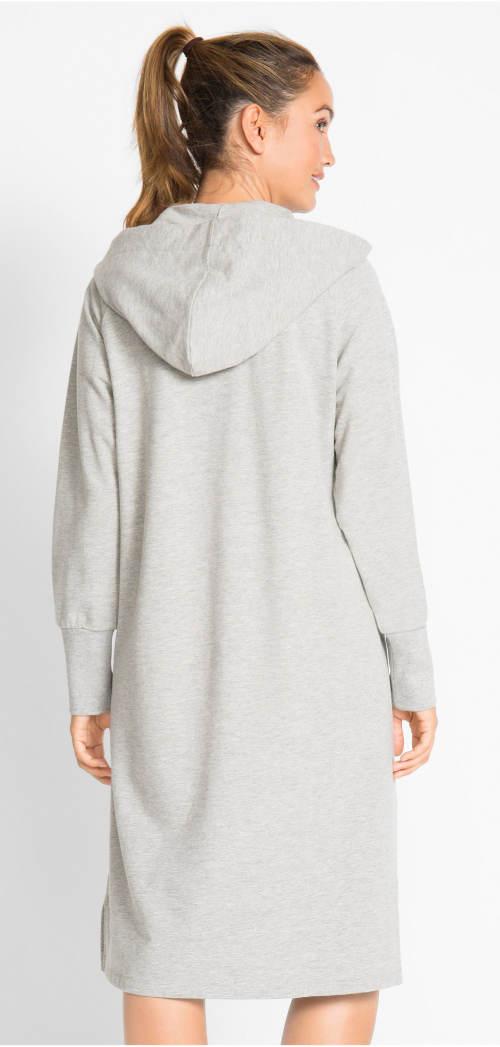 Pohodlné šedé šaty z teplákoviny