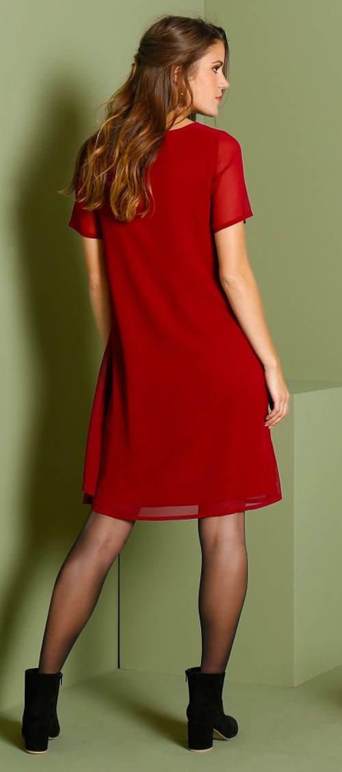 Průsvitné červené šaty s podšívkou