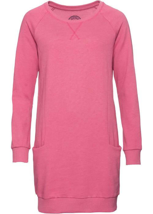 Růžové dámské šaty s dlouhým rukávem