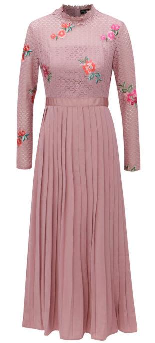 Růžové společenské šaty s plisovanou sukní