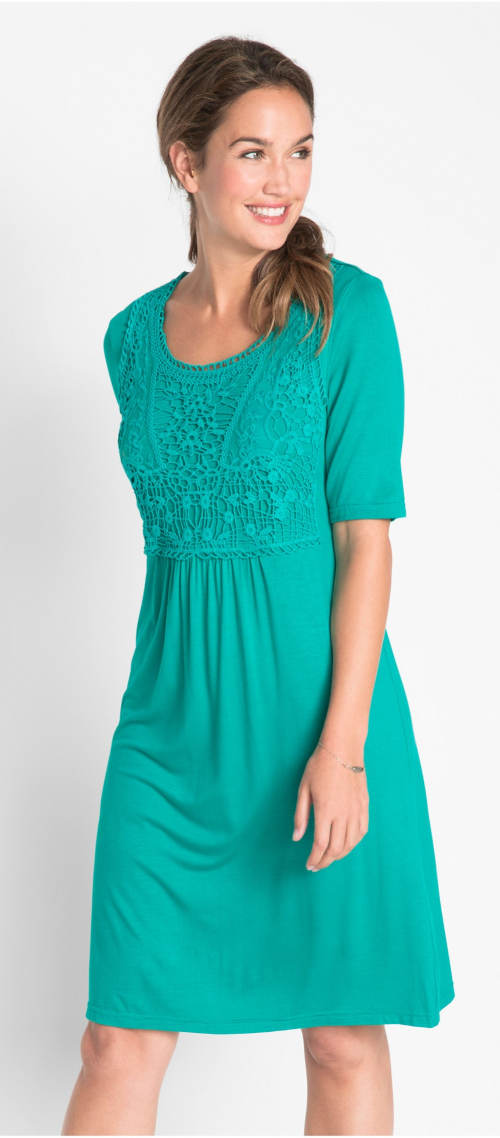 Smaragdové dámské krajkové šaty