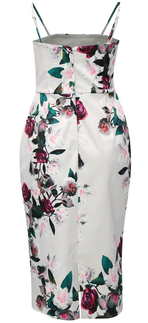 Společenské květované šaty na tenká ramínka