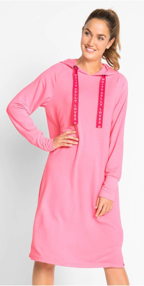Teplákové dámské šaty s kapucí