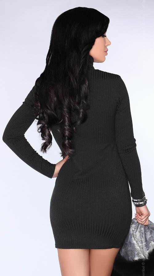 Úpletové černé mini šaty