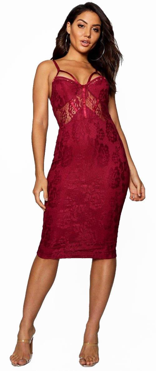 Vínové krajkové plesové midi šaty