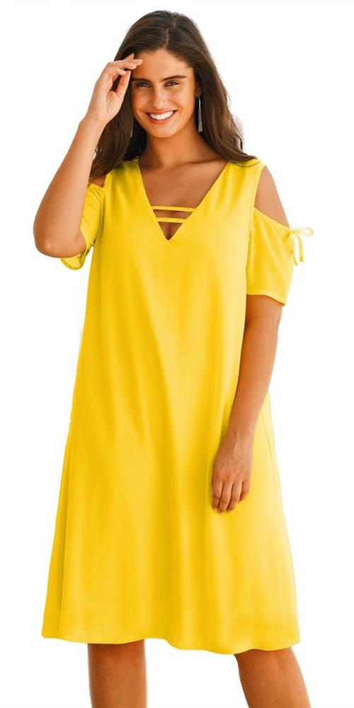 Volné letní žluté šaty pro silnější postavy