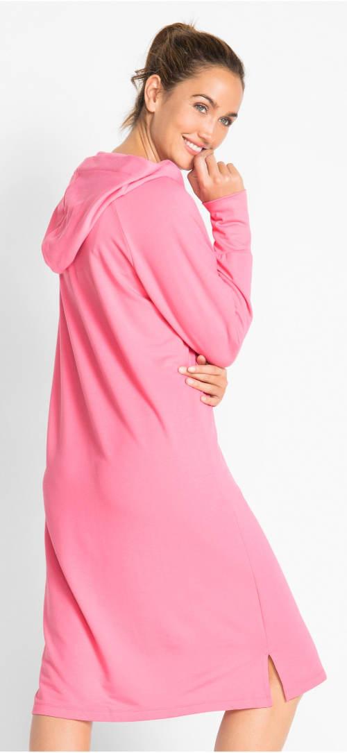 Volnočasové růžové šaty s kapucí