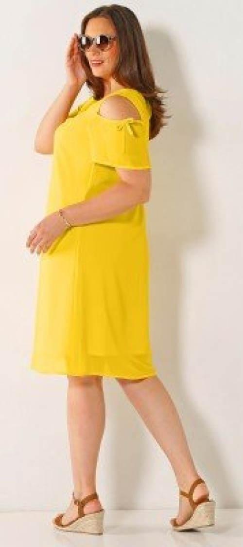 Žluté letní šaty pro plnoštíhlé
