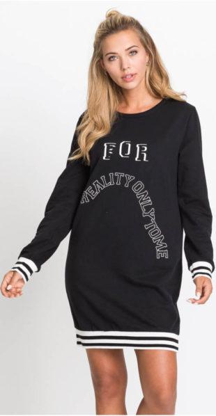 Černé mikinové šaty s nápisem
