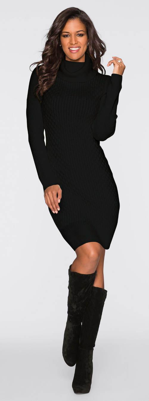 Černé pletené zimní šaty