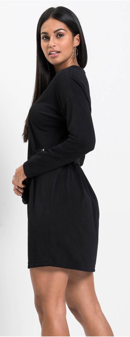 Černé šaty se stahovacím paskem