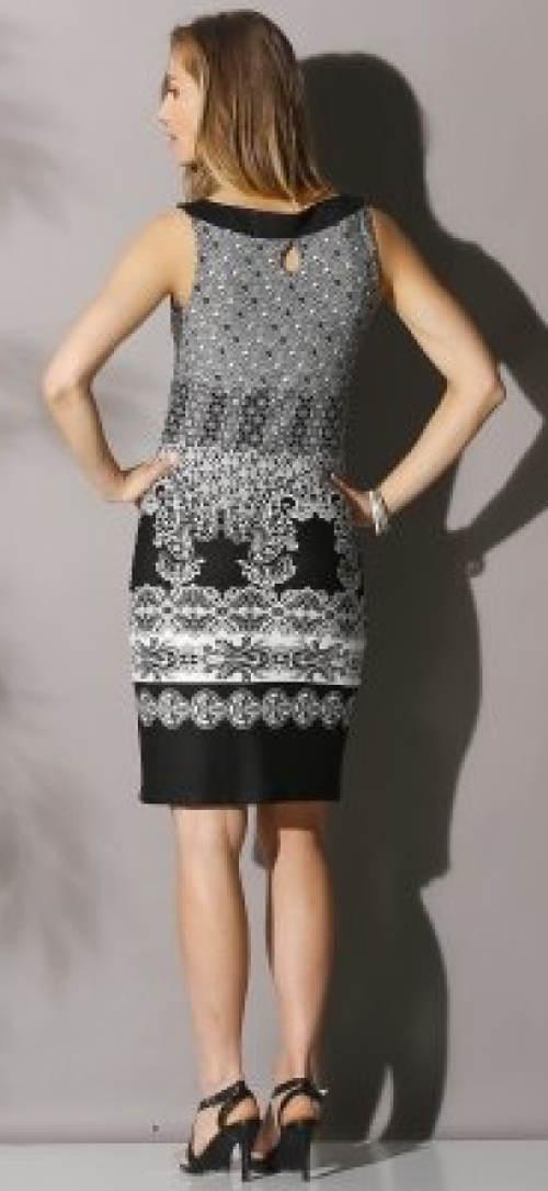 Černobílé letní šaty nad kolena