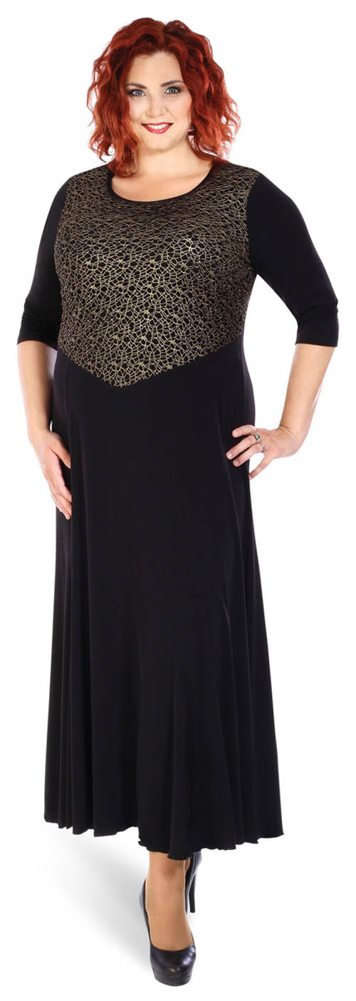 Černozlaté dlouhé plesové šaty pro plnoštíhlé