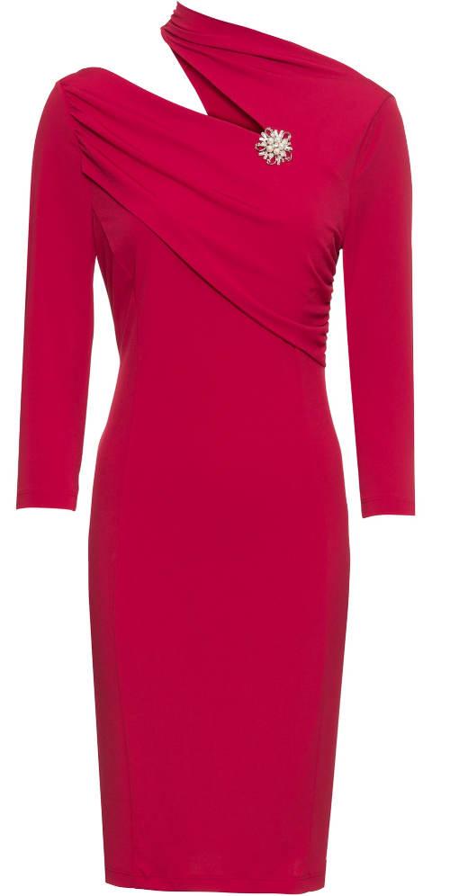 Červené plesové šaty s broží
