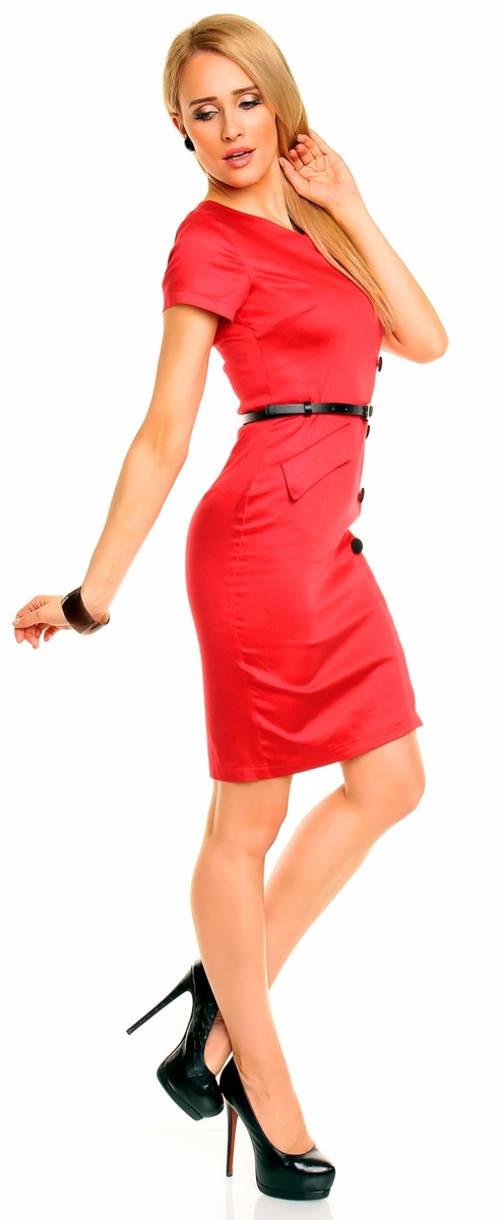Červené šaty s falešnou kapsou