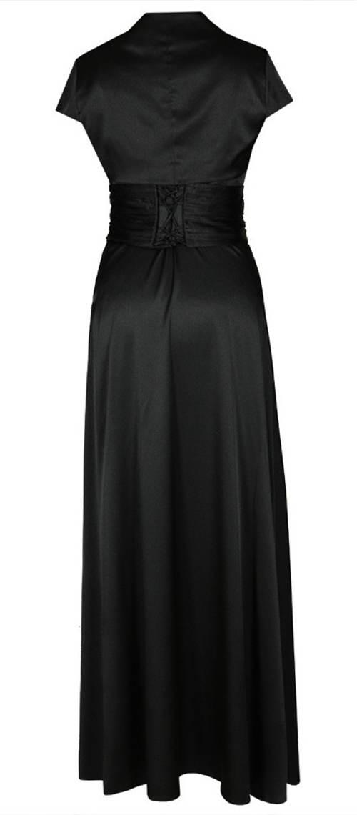 Dlouhé černé šaty se stahoavcím opaskem