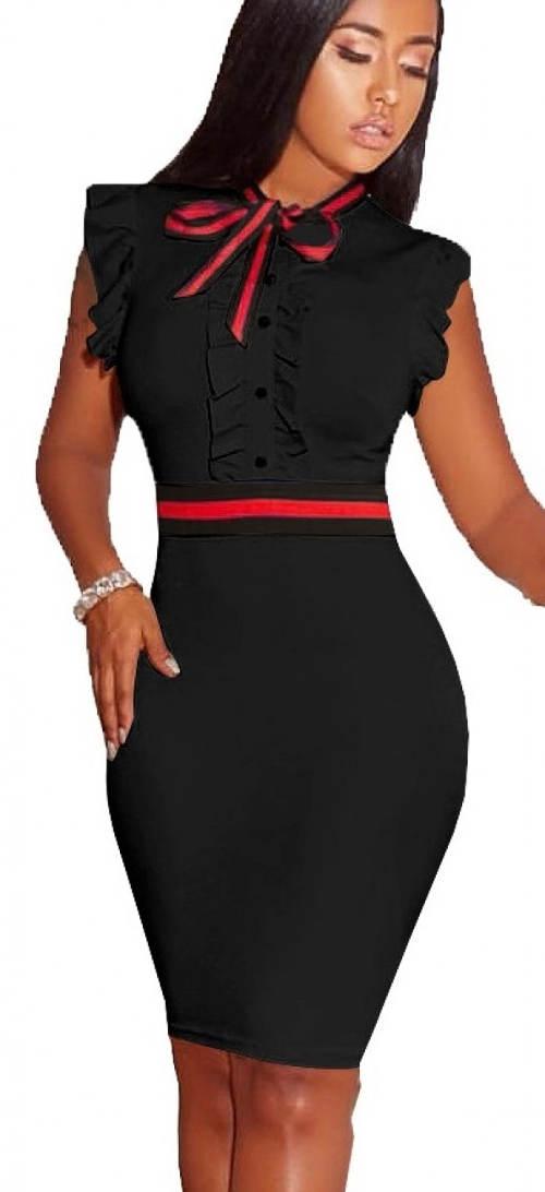 Elegantní černé šaty s červenou mašlí pod krkem