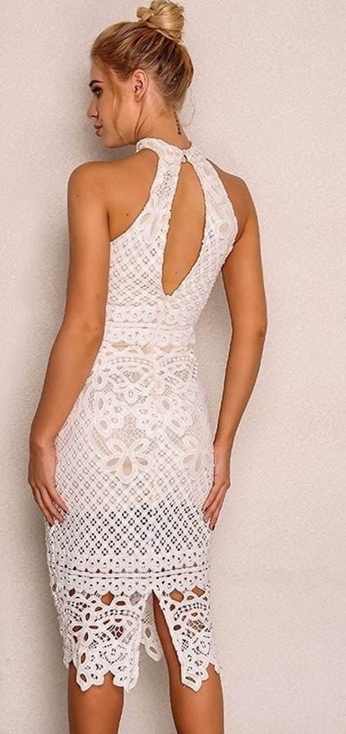 Krajkové šaty s ramínky za krk