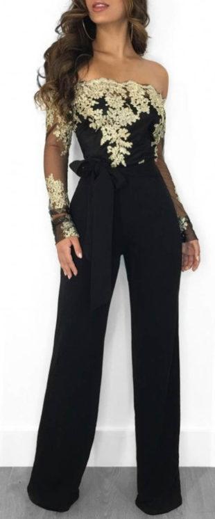 Krajkový dámský společenský kalhotový kostým