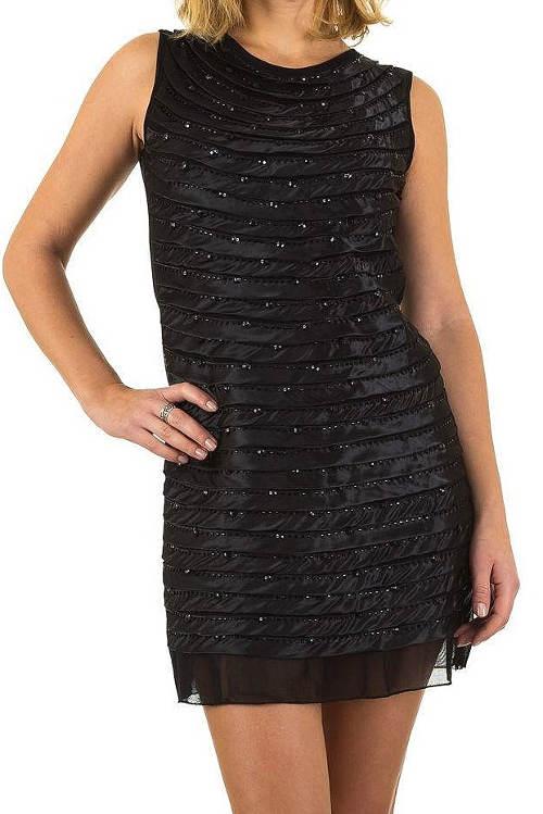Levné černé lesklé společenské šaty