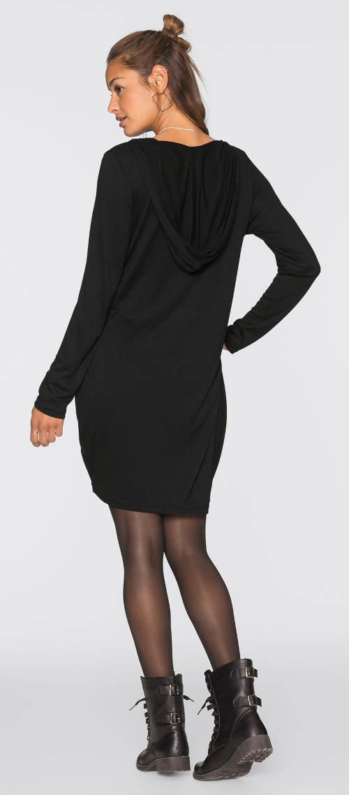 Mikinové podzimní šaty s kapucí