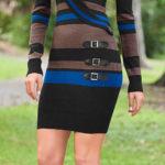 Moderní pruhované pletené šaty