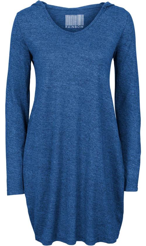 Modré úpletové šaty s kapucí
