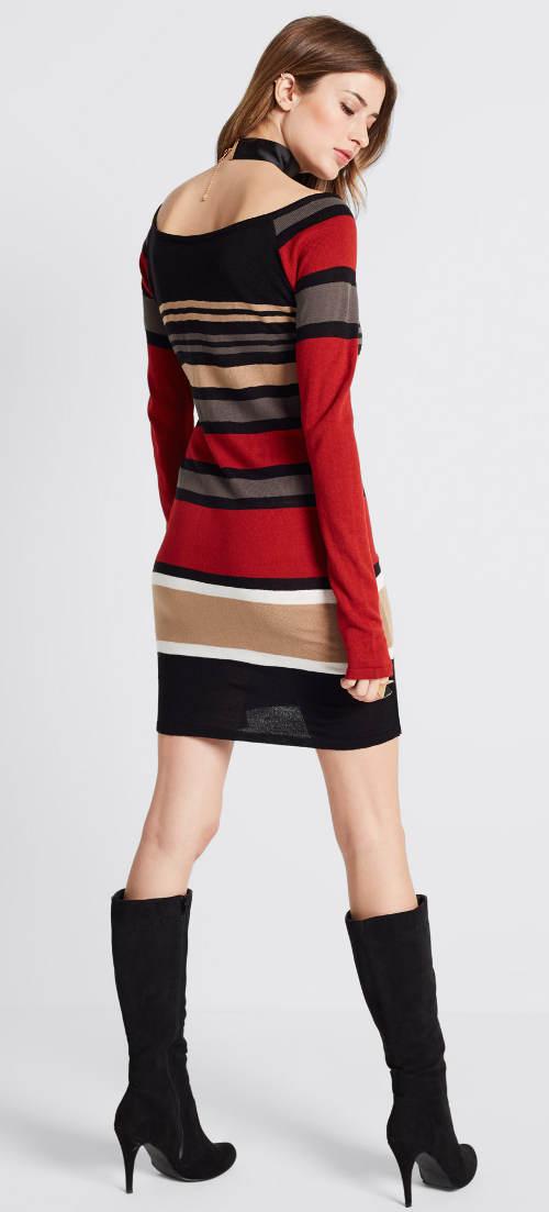 pruhované svetrové dámské šaty