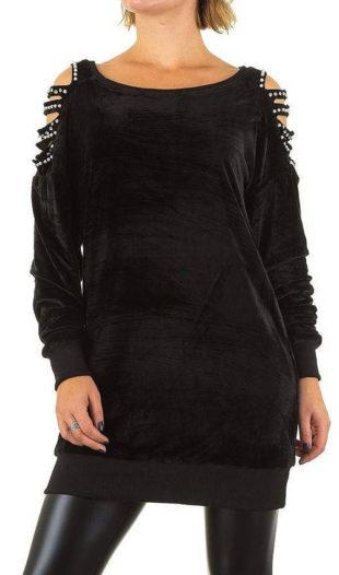 Pružné černé šaty k legínam