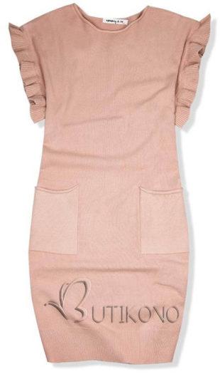 Pudrově růžové pletené oversized šaty
