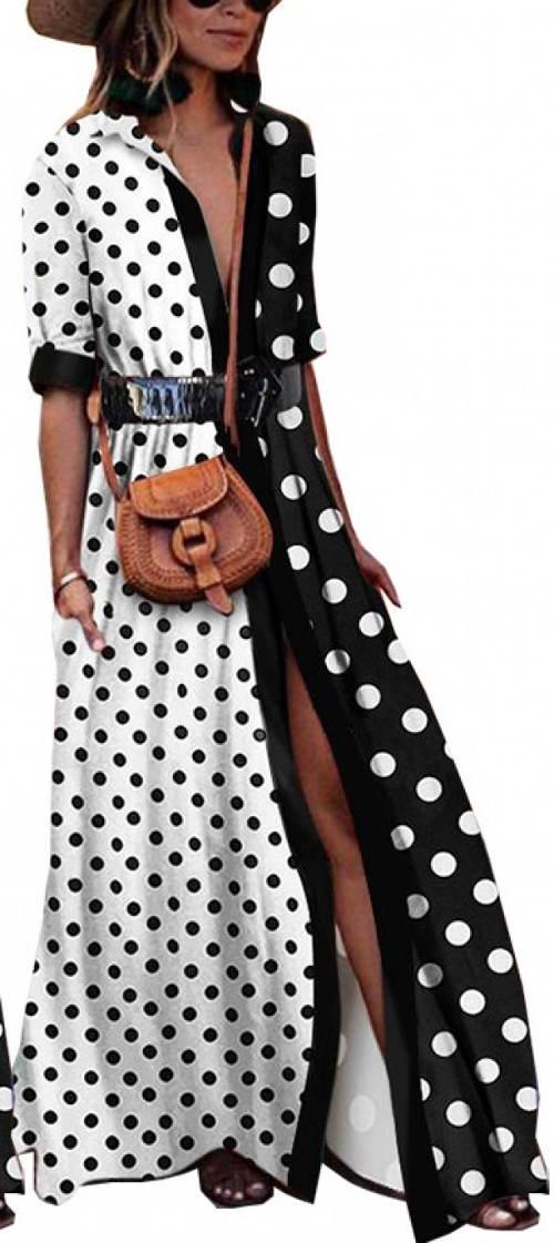 Puntíkované modní černobílé dámské maxi šaty