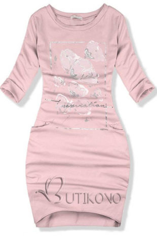 Růžové podzimní bavlněné šaty s decentním potiskem