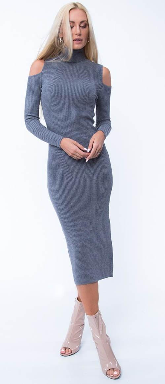 Šedé pletené delší zimní dámské šaty
