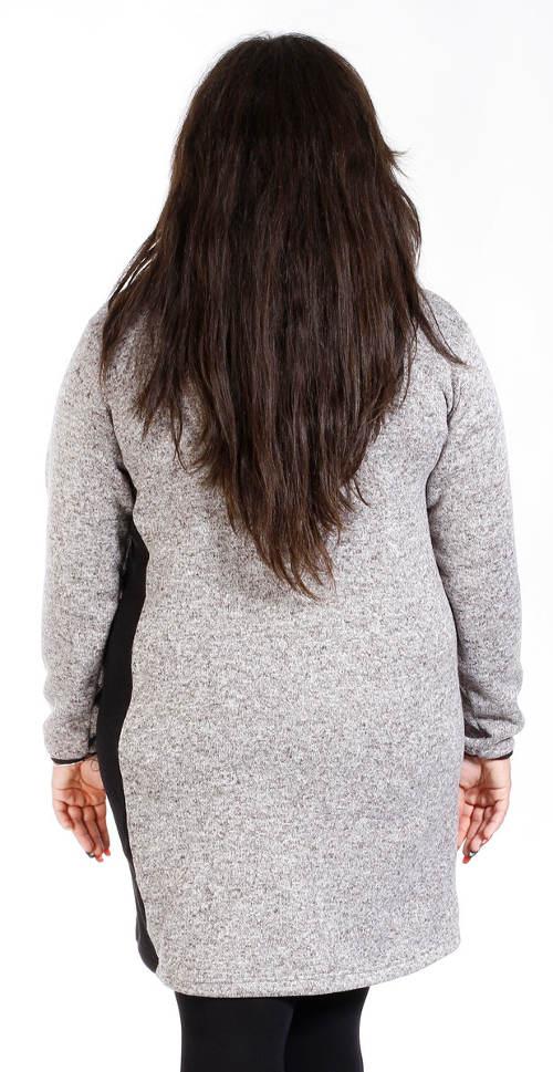 Šedé teplé mikinové šaty