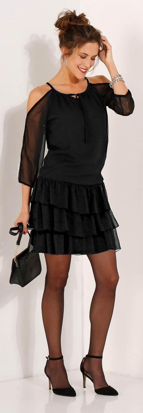 Společenské černé šaty s volánovou sukní