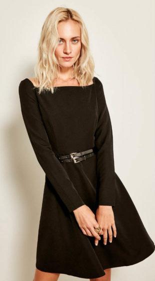 Společenské dámské šaty s lodičkovým výstřihem