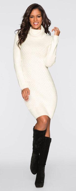 Teploučké pletené šaty s rolákem
