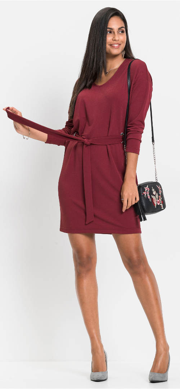Vínové dámské šaty s uzlem