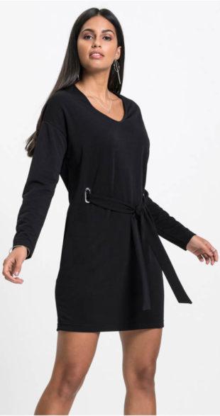 Žerzejové společenské šaty s páskem na zavazování
