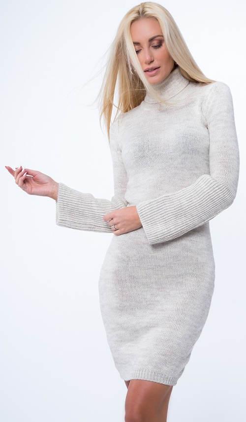 f128854a6084 Zimní svetrové minišaty s roláčkem