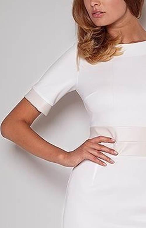 Bílé dámské šaty s krátkým rukávem